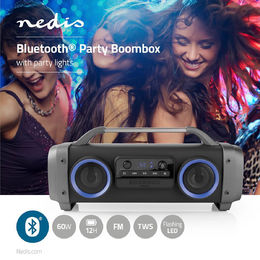 Nedis Party Boombox | 60W | bluetooth® | FM-Radio | LED valot | musta